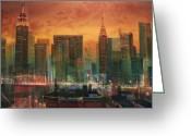 Original Art Greeting Cards - New York the Emerald City Greeting Card by Tom Shropshire