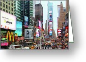 Musicals Greeting Cards - New York Times Square Panorama Greeting Card by Mariola Bitner