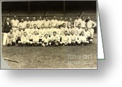 Polo Grounds Greeting Cards - New York Yankees Baseball Team Posed Greeting Card by Pg Reproductions