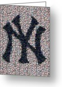 Baseball Mixed Media Greeting Cards - New York Yankees Bottle Cap Mosaic Greeting Card by Paul Van Scott