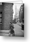 Manhattan Street Scenes Greeting Cards - New Yorker Greeting Card by Ilker Goksen
