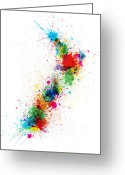 Splashes Greeting Cards - New Zealand Paint Splashes Map Greeting Card by Michael Tompsett