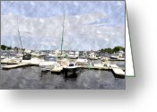 Merrimac Greeting Cards - Newburyport Harbor NHWC Greeting Card by Jim Brage