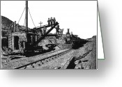 Pacific Drawings Greeting Cards - Newfangled Steam Shovel 1869 Greeting Card by Bruce Kay