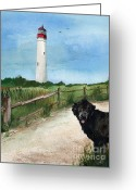 Split Rail Fence Painting Greeting Cards - Newfy at Cape May Light  Greeting Card by Nancy Patterson