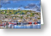 West Country Greeting Cards - Newlyn Harbour Cornwall Greeting Card by Chris Thaxter