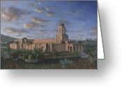 California Painting Greeting Cards - Newport Beach Temple Greeting Card by Jeff Brimley