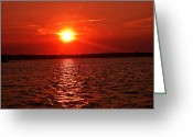 Beach Photographs Greeting Cards - Newports Sunset  Greeting Card by Lourry Legarde
