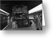 Five People Greeting Cards - News Stand Between Train Station Platforms Greeting Card by George Marks