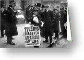 All Star Photo Greeting Cards - Newsboy Ned Parfett announcing the sinking of the Titanic Greeting Card by English School