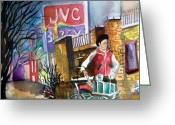 City Scene Drawings Greeting Cards - Newspaper Boy Greeting Card by Mindy Newman