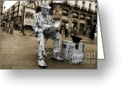 Espana Greeting Cards - Newspaper Man Greeting Card by Rob Hawkins