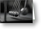 Order Greeting Cards - Newtons Cradle In Motion - Metallic Balls Greeting Card by N.J. Simrick