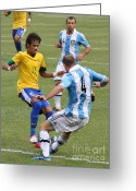 Kicking Football Greeting Cards - Neymar Doing His Thing III Greeting Card by Lee Dos Santos