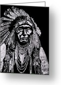 Arapaho Glass Art Greeting Cards - Nez Perce Greeting Card by Jim Ross