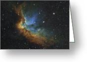 Interstellar Clouds Photo Greeting Cards - Ngc 7380 In Hubble-palette Colors Greeting Card by Rolf Geissinger