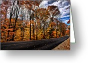 Nh Greeting Cards - NH Autumn Road 2 Greeting Card by Edward Myers