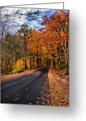 Nh Greeting Cards - NH Autumn Road 3 Greeting Card by Edward Myers