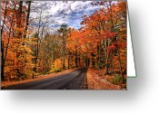 Nh Greeting Cards - NH Autumn Road 4 Greeting Card by Edward Myers