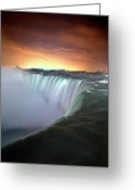 Horizon Over Water Greeting Cards - Niagara Falls By Night Greeting Card by Insight Imaging