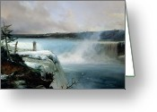 Art On Foam Greeting Cards - Niagara Falls Greeting Card by Jean Charles Joseph Remond
