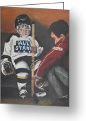 Pond Hockey Painting Greeting Cards - Nice and Tight Greeting Card by Ron  Genest