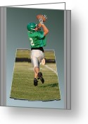 Kicking Football Greeting Cards - Nice Catch 02 Greeting Card by Thomas Woolworth