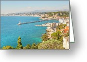 Coastline Greeting Cards - Nice Coastline And Harbour, France Greeting Card by John Harper