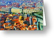Colorful Buildings Greeting Cards - Nice Hilltop Greeting Card by Patricia Stalter