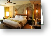 Chic Greeting Cards - Nice Hotel-room Greeting Card by Atiketta Sangasaeng