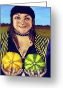 Piercing Greeting Cards - Nice Melons Greeting Card by Leah Saulnier The Painting Maniac