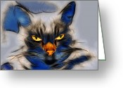 Bewitching Greeting Cards - Nice Pussy Cat Greeting Card by Irma BACKELANT