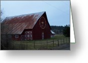 Old Barns Pyrography Greeting Cards - Nice Red Barn Greeting Card by Laurie Kidd