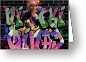 Lil Wayne Greeting Cards - Nicki Minaj Graffiti by GBS Greeting Card by Anibal Diaz