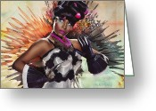 Nicki Minaj Greeting Cards - Nicki Minaj Splatter by GBS Greeting Card by Anibal Diaz