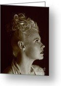 Grable Greeting Cards - Nicky portrays Betty - Sepia Greeting Card by EleGlance Photography