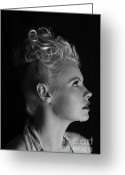 Grable Greeting Cards - Nicky portrays Betty BW Greeting Card by EleGlance Photography