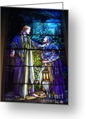 Stained Glass Glass Art Greeting Cards - Nicodemus Came To Him at Night Greeting Card by Pg Reproductions