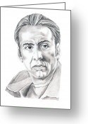 Pencil Drawing Drawings Greeting Cards - Nicolas Cage Greeting Card by Murphy Elliott