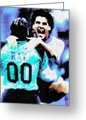 New To Vintage Mixed Media Greeting Cards - Nicolas Nixo Soccer Greeting Card by Nicolas Nixo