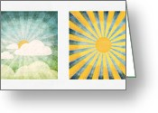 Retro Pastels Greeting Cards - Night And Day  Greeting Card by Setsiri Silapasuwanchai