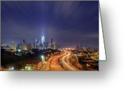 Long Street Greeting Cards - Night At  Kuala Lumpur Greeting Card by Zackri Zim