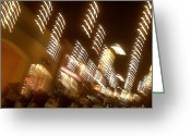 City Illusion Greeting Cards - Night At The Mall Greeting Card by Ben and Raisa Gertsberg