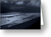 Storm Digital Art Greeting Cards - Night Beach - Jersey Shore Greeting Card by Angie McKenzie