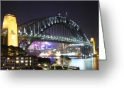 Sydney Harbour. Circular Quay Greeting Cards - Night Bridge Greeting Card by Kirsten Chee
