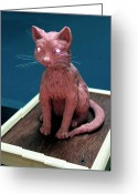 Bronze Sculpture Greeting Cards - Night cat Greeting Card by Yelena Rubin