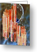 Chimes Greeting Cards - Night Chimes Greeting Card by James Granberry