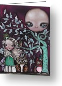 Girl Portrait Greeting Cards - Night Creatures Greeting Card by  Abril Andrade Griffith