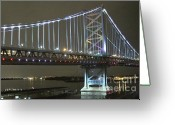 Delaware River Greeting Cards - Night Crossing Greeting Card by Rick  Monyahan