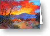 Fire Pastels Greeting Cards - Night Fever Greeting Card by M Diane Bonaparte